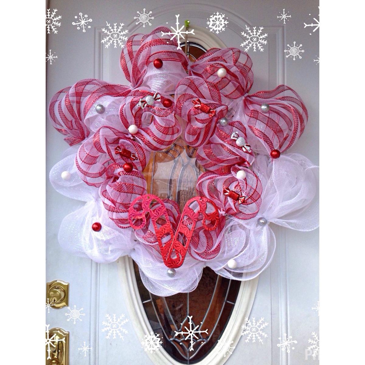 Diy Candy Land Christmas Wreath Using Deco Mesh A Modest