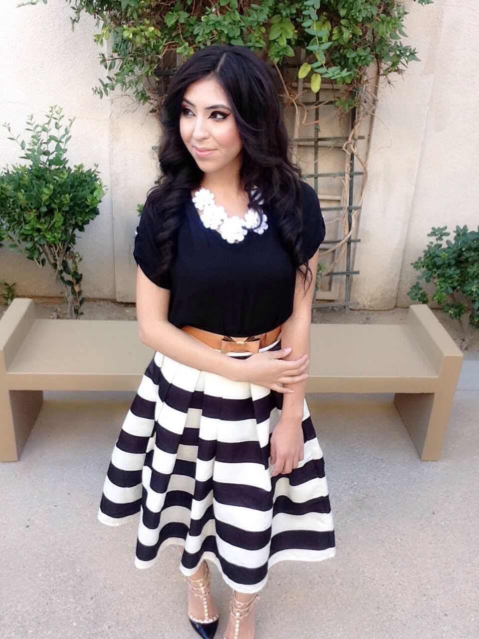 Black White Striped Midi Skirt Outfit Featuring Two 12
