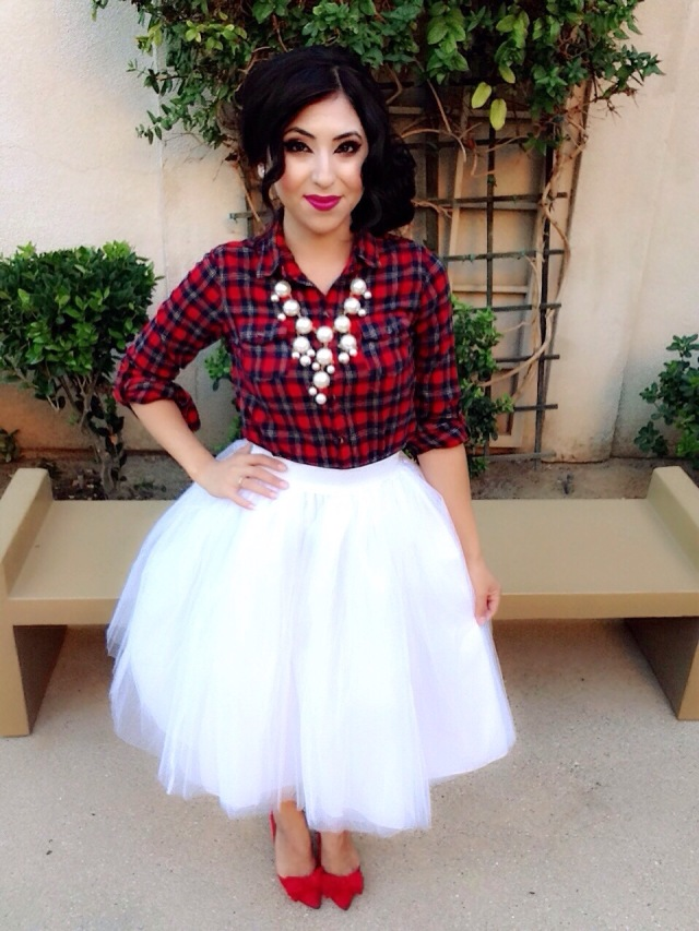 How to Style a Tulle Skirt: Plaid & Tulle! Featuring ...